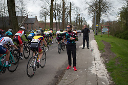 CANYON//SRAM Racing soigneur Alessandra Borchi prepares to give bottles to riders during Stage 4 of the Healthy Ageing Tour - a 126.6 km road race, starting and finishing in Finsterwolde on April 8, 2017, in Groeningen, Netherlands.