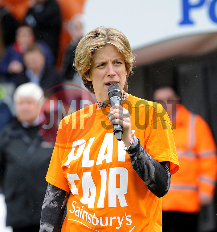 Bristol MP, Charlotte Leslie speaks to the crowd about the Southmead Project - Photo mandatory by-line: Neil Brookman/JMP - Mobile: 07966 386802 - 03/04/2015 - SPORT - Football - Bristol - Memorial Stadium - Bristol Rovers v Chester - Vanarama Football Conference