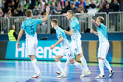 Players of Slovenia clebrate during futsal match between Slovenia and Serbia at Day 1 of UEFA Futsal EURO 2018, on January 30, 2018 in Arena Stozice, Ljubljana, Slovenia. Photo by Ziga Zupan / Sportida