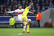 Enes Ünal of Villarreal and Lucas Tousart of Lyon during the UEFA Europa League, Round of 32, 1st leg football match between Olympique Lyonnais and Villarreal on February 15, 2018 at Groupama stadium at Decines-Charpieu near Lyon, France - Photo Romain Biard / Isports / ProSportsImages / DPPI