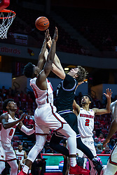 NORMAL, IL - October 23: Cade McKnight gets a shot past Rey Idowu during a college basketball game between the ISU Redbirds and the Truman State Bulldogs on October 23 2019 at Redbird Arena in Normal, IL. (Photo by Alan Look)