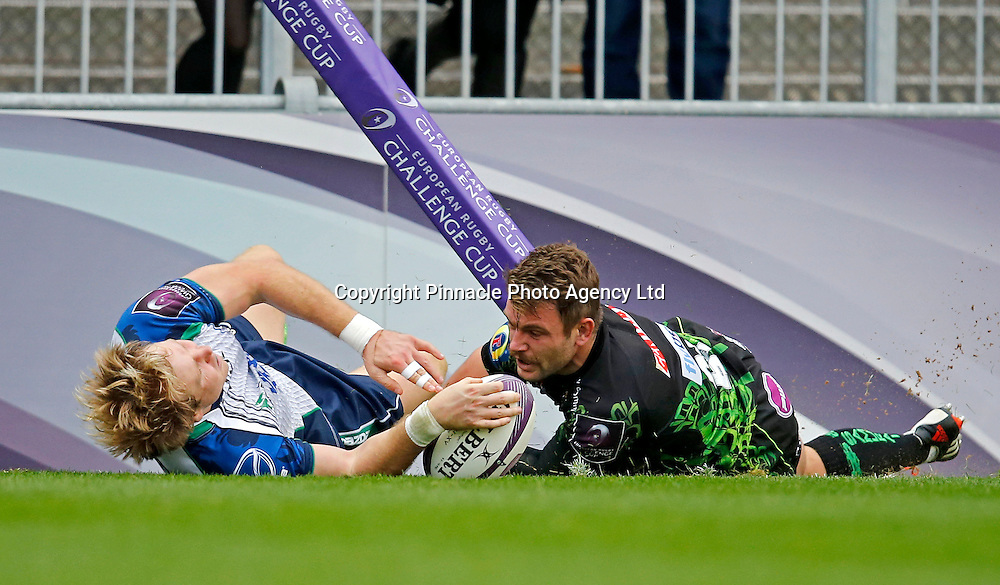 European Rugby Challenge Cup Round 2, Sandy Park, Exeter, England 25/10/2014<br /> Exeter Chiefs vs Connacht<br /> Conor Finn of Connacht goes over for a try despite the tackle of Dave Lewis of Exeter Chief<br /> Mandatory Credit &copy;INPHO/Phil Mingo
