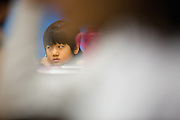 Third grader Nirmal Jasti lays his head on his desk during the first day of school in Laura Polden's class at Zanker Elementary School in Milpitas, California, on August 19, 2013. (Stan Olszewski/SOSKIphoto)
