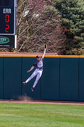 NORMAL, IL - April 08: Dakota Kotowski jumps but can't lasso the long ball going over the wall during a college baseball game between the ISU Redbirds  and the Missouri State Bears on April 08 2019 at Duffy Bass Field in Normal, IL. (Photo by Alan Look)