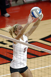 24 November 2006: Katelyn Panzau passes across the front row during a Quarterfinal match between the Evansville University Purple Aces and the Missouri State University Bears.The Tournament was held at Redbird Arena on the campus of Illinois State University in Normal Illinois.<br />