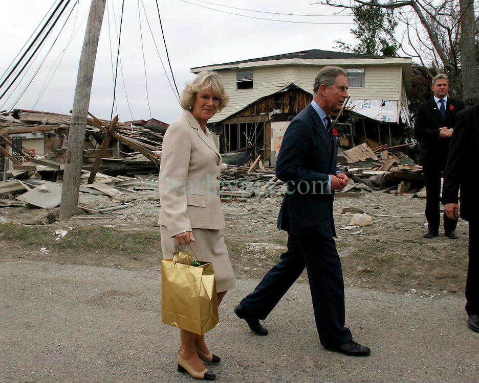 04 November, 2005. New Orleans, Louisiana.<br /> Prince Charles and Camilla, Duchess of Corwall visit the lower 9th ward following the devastating flooding from hurricane Katrina. <br /> Photo; Charlie Varley/varleypix.com