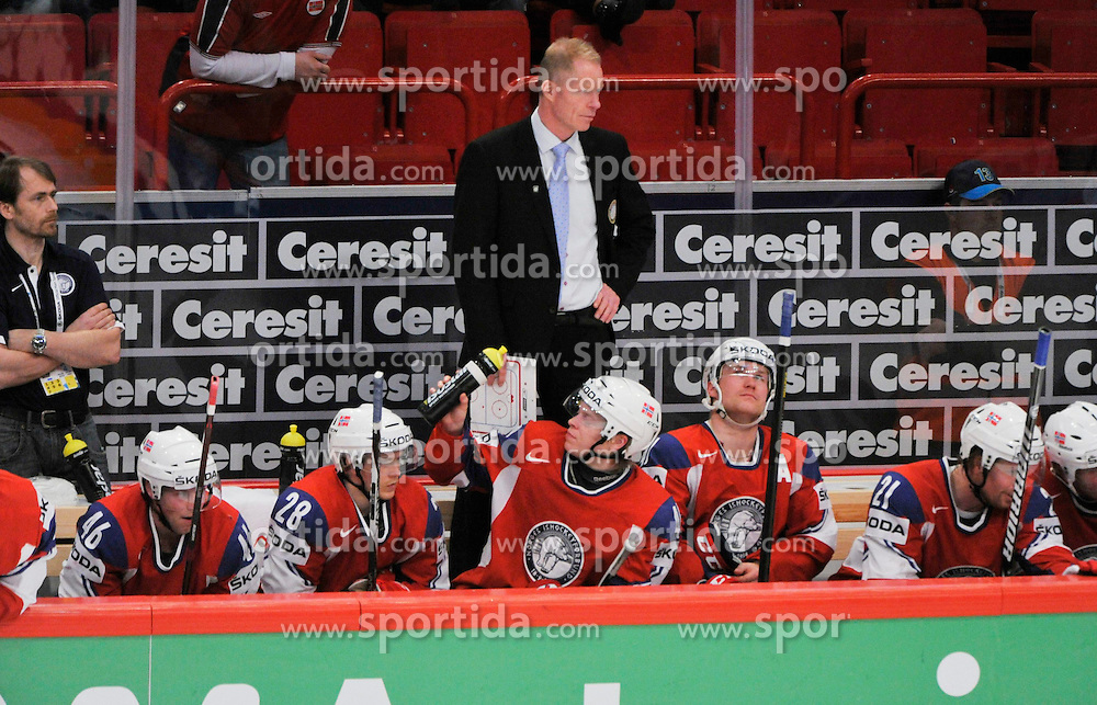 12.05.2013, Globe Arena, Stockholm, SWE, IIHF, Eishockey WM, Schweiz vs Norwegen, im Bild Norway Head coach Roy Johansen // during the IIHF Icehockey World Championship Game between Switzerland and Norway at the Ericsson Globe, Stockholm, Sweden on 2013/05/12. EXPA Pictures © 2013, PhotoCredit: EXPA/ PicAgency Skycam/ Simone Syversson..***** ATTENTION - OUT OF SWE *****
