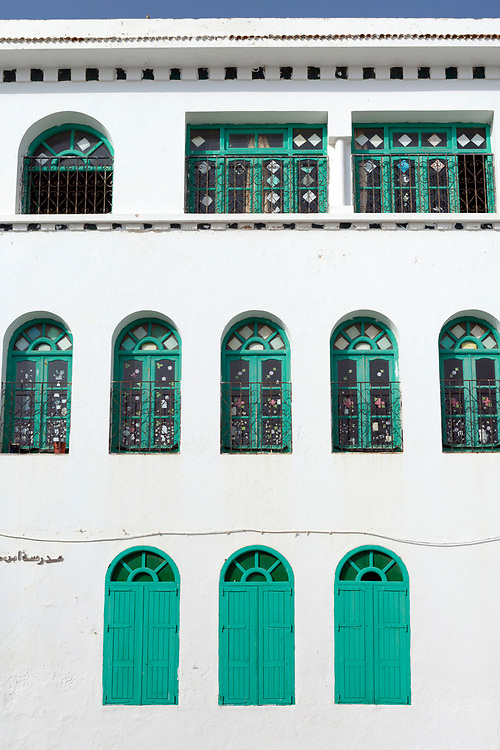 Decorative Moroccan window shutter, Asilah, Northern Morocco, 2015-08-03. <br />
