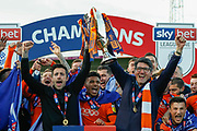CHAMPIONS Luton Town players and coaching staff celebrate winning the league title, Luton Town manager Mick Harford lifts the trophy, after the EFL Sky Bet League 1 match between Luton Town and Oxford United at Kenilworth Road, Luton, England on 4 May 2019.