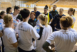 Coach Marta Bon with players during practice session of Slovenian Women handball National Team three days before match against Serbia, on October 24, 2013 in Arena Tivoli, Ljubljana, Slovenia. (Photo by Vid Ponikvar / Sportida)