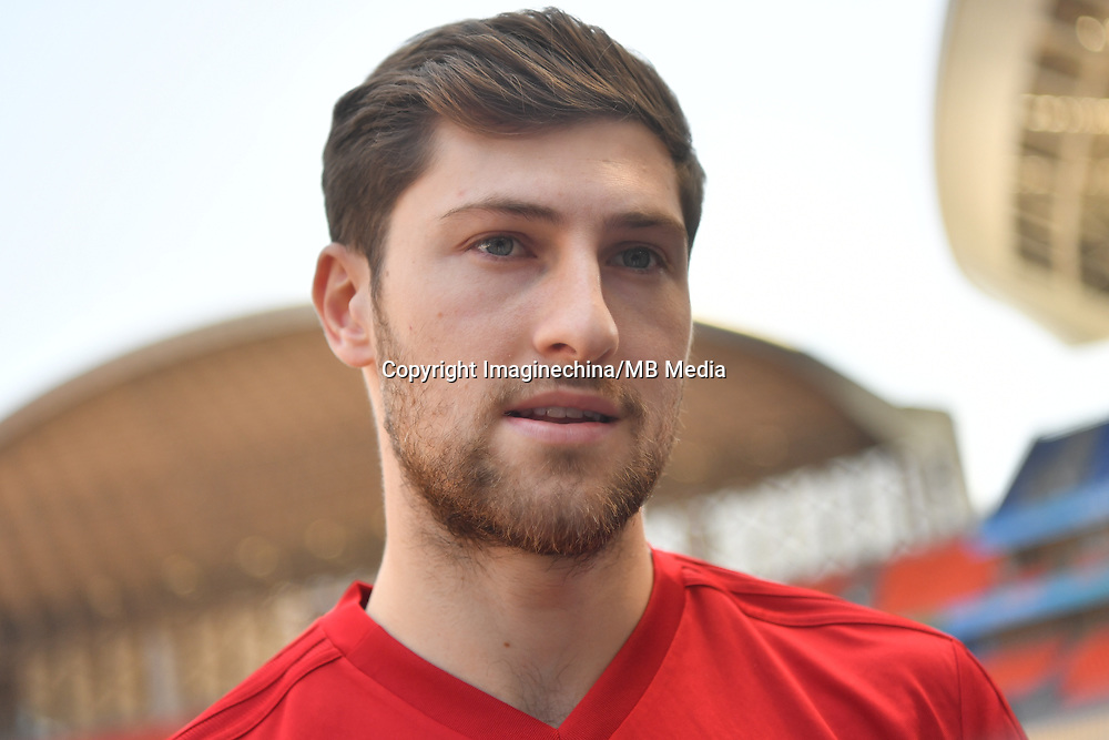 Ben Davies of Wales national football team is interviewed in a training session before the semi-final match against China during the 2018 Gree China Cup International Football Championship in Nanning city, south China's Guangxi Zhuang Autonomous Region, 20 March 2018.