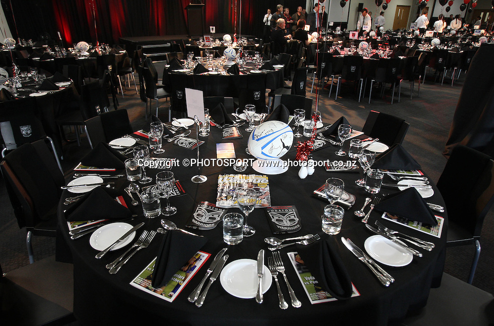 Dinner setting.Vodafone Warriors vs Penrith Panthers at Mt Smart Stadium, Auckland on Friday 22 June 2007. Photo: Andrew Cornaga/PHOTOSPORT <br /><br />220607