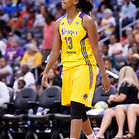 15 August 2014: Los Angeles Sparks forward Farhiya Abdi (13) rests during the Los Angeles Sparks 77-65 victory over the Seattle Storm, at the Staples Center, Los Angeles, California, USA.