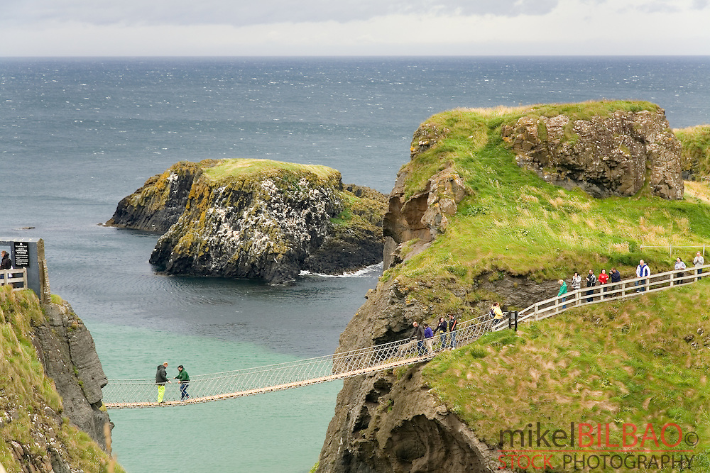 "suspension bridge in Carrick-a-Rede, in ""Causeway Route"". Northern Ireland coast, United Kingdom, Europe."
