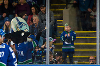 KELOWNA, BC - SEPTEMBER 29:  Vancouver Canucks' mascot Fin bangs the drum in the stands against the Arizona Coyotes at Prospera Place on September 29, 2018 in Kelowna, Canada. (Photo by Marissa Baecker/NHLI via Getty Images)  *** Local Caption *** Fin