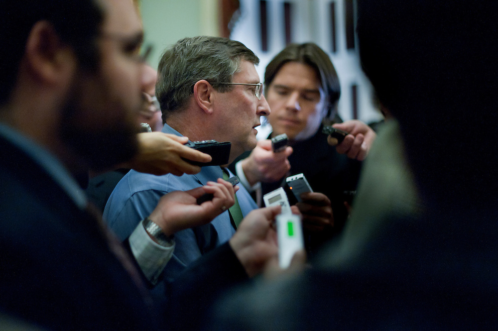Dec 7, 2010 - Washington, District of Columbia, U.S. - KENT CONRAD (D-ND) speaks to reporters following the Senate Democratic Caucus lunch on Tuesday on Capitol Hill. Vice President Biden attended was in attendence in an attempt to quell the angry reaction to the deal cut by the Presidents and the Republicans on tax cuts..(Credit Image: © Pete Marovich/ZUMA Press)