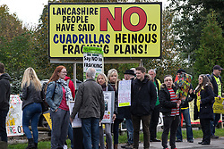 © Licensed to London News Pictures . 08/10/2016 . Lancashire , UK . Anti fracking demonstration against the government and fracking firm Cuadrilla at Maple Farm on Preston New Road near Preston in Lancashire , following Communities and Local Government Minister Sajid Javid's decision to overturn Lancashire County Council's decision to ban fracking on the site . Photo credit : Joel Goodman/LNP
