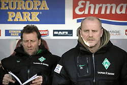 05.02.2012, MAGE SOLAR Stadion, Freiburg, GER, 1. FBL, SC Freiburg vs SV Werder Bremen, 20. Spieltag, im Bild (l.) Wolfgang ROLFF (Co-Trainer SV Werder Bremen) (r.) Thomas SCHAAF (Trainer SV Werder Bremen) // during the German Bundesliga Match between SC Freiburg and SV Werder Bremen at the MAGE SOLAR Stadium in Freiburg, Germany, 2012/02/05. EXPA Pictures © 2012, PhotoCredit: EXPA/ Eibner/ Sven Lägler..***** ATTENTION - OUT OF GER *****