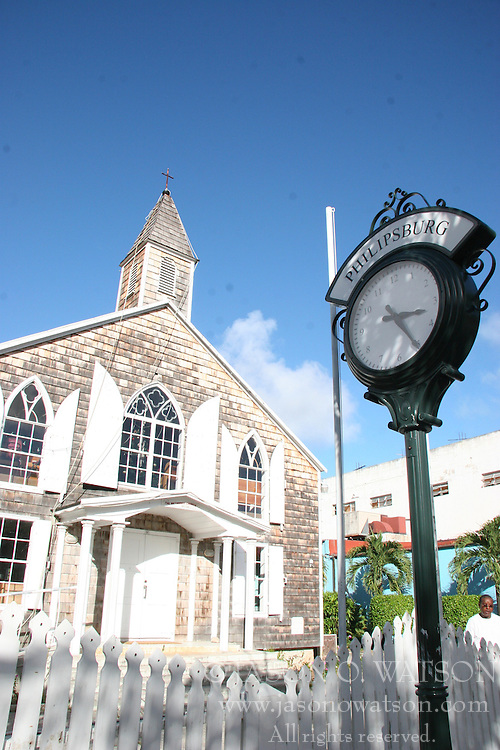 Church and town clock, Philipsburg, Saint Maarten on the Dutch side of Sint Martin, December 17, 2005