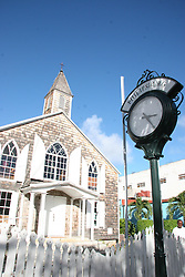 Church and town clock, Philipsburg, Saint Maarten on the Dutch side of Sint Martin, December 17, 2005