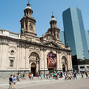 The exterior of the Metropolitan Cathedral of Santiago (Catedral Metropolitana de Santiago) in the heart of Santiago, Chile, facing Plaza de Armas. The original cathedral was constructed during the period 1748 to 1800 (with subsequent alterations) of a neoclassical design.