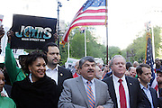 29 April 2010 New York, NY- l to r: Arlene Holt Baker, Vice President AFL-CIO, Ben Jealous, President, NAACP, Richard Trumpka, President AFL-CIO, and Jack Ahern, President NYC Labor Council, and George Goehl, Executive Director of The National Peoples Action at The March on Wall Street held at City Hall Park with proceeding March on Wall Street Protest on April 29, 2010 in New York City.