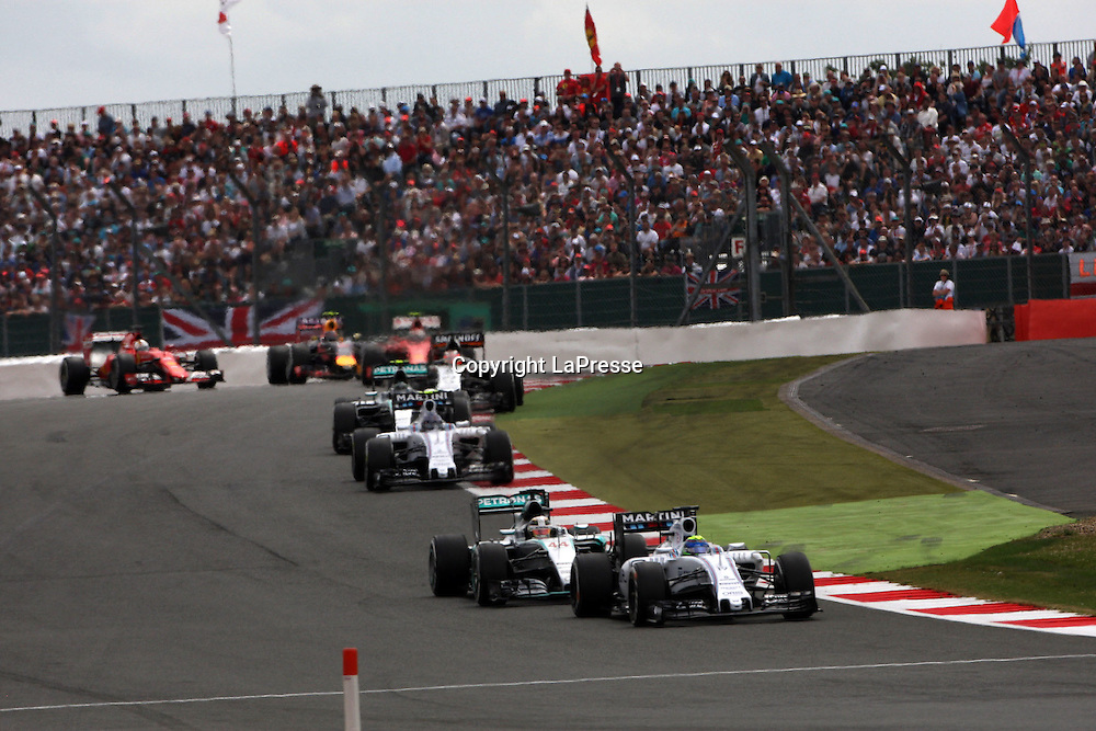 &copy; Photo4 / LaPresse<br /> 05/07/2015 Silverstone, England<br /> Sport <br /> Grand Prix Formula One England 2015<br /> In the pic: Felipe Massa (BRA) Williams F1 Team FW37 leads Lewis Hamilton (GBR) Mercedes AMG F1 W06