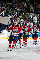 KELOWNA, CANADA - MARCH 22: Brian Williams #26 of the Tri-City Americans celebrates a goal against the Kelowna Rockets on March 22, 2014 during game 1 of the first round of WHL Playoffs at Prospera Place in Kelowna, British Columbia, Canada.   (Photo by Marissa Baecker/Getty Images)  *** Local Caption *** Brian Williams;