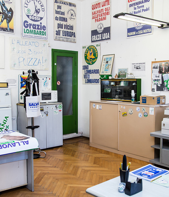 Interno della sede Lega Nord di Varese (questa è la prima sede del partito costruita nel 1986). | Lega Nord headquarters in Varese (this is the first headquarter of Lega Nord built in 1986)