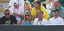 LONDON, ENGLAND - Wednesday, June 23, 2010: Lucie Safarova (CZE) watches her boyfriend Tomas Berdych (CZE) during the Gentlemen's Singles 2nd Round match on day three of the Wimbledon Lawn Tennis Championships at the All England Lawn Tennis and Croquet Club. Back row L-R: Jan Hajek, Daja Bedanova (Hajek's wife),<br /> Martin Stepanek, Zdenek Duplak (Berdych's manager). Front row L-R: Patrik Navara (Lucie's coach), Lucie Safarova, David Vydra (Berdych's <br /> fitness coach), Tomas Krupa (Berdych's coach). (Pic by David Rawcliffe/Propaganda)