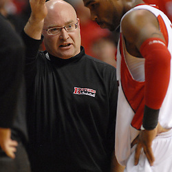 Jan 31, 2009; Piscataway, NJ, USA; Rutgers guard Anthony Farmer (2) is coached by head coach Fred Hill during the second half of Rutgers' 75-56 victory over DePaul in NCAA college basketball at the Louis Brown Athletic Center