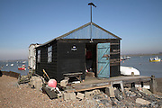 Fisherman's shed. Small fishing and sailing hamlet of Felixstowe Ferry at the mouth of the River Deben, Suffolk, England