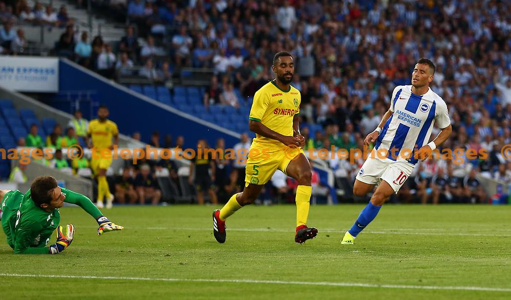 Tomer Hemed of Brighton scores during the pre season friendly between Brighton and Hove Albion and FC Nantes at the American Express Community Stadium in Brighton. 03 Aug 2018