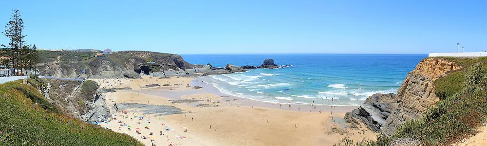 Panoramic overview of Zambujeira do Mar village beach, Alentejo, Portugal