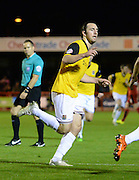 Northampton  midfielder John-Joe O'Toole celebrates his goal to make it 0-2 during the Sky Bet League 2 match between Crawley Town and Northampton Town at the Checkatrade.com Stadium, Crawley, England on 24 November 2015. Photo by David Charbit.