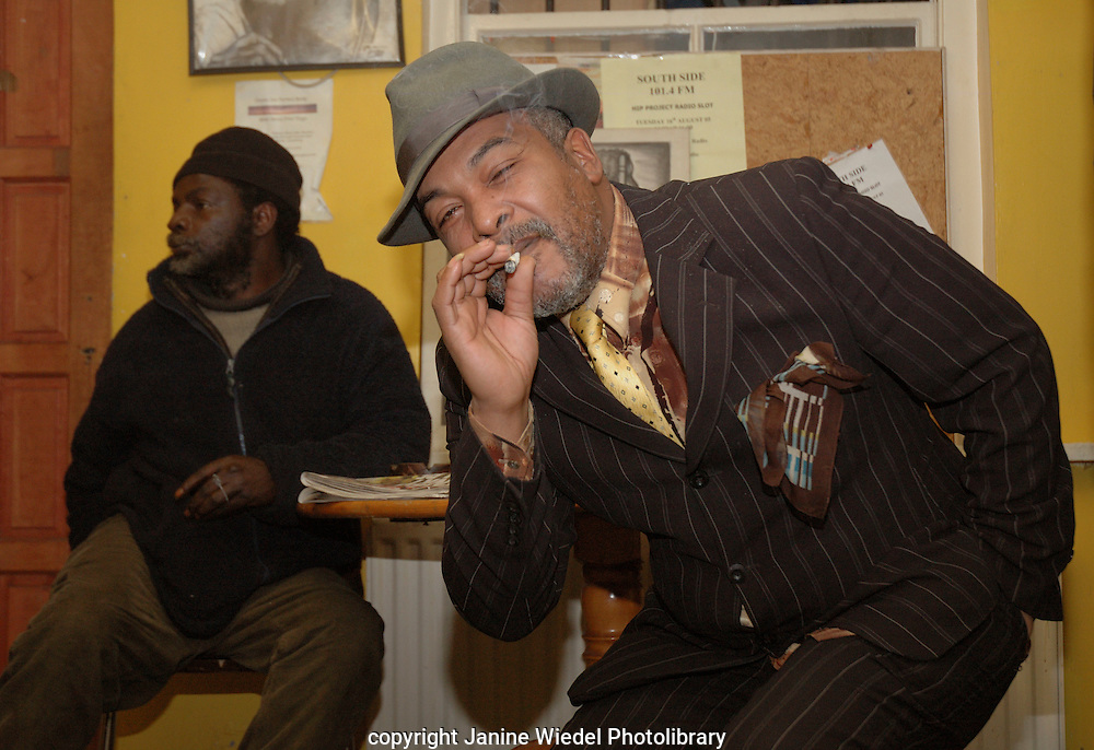 Smoking cannabis in black social centre South London