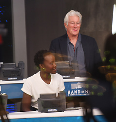 """Celebrities at the """"Hand to hand"""" telethon in Times square, New York City. 12 Sep 2017 Pictured: Lupita Nyong'o, Richard Gere. Photo credit: MEGA TheMegaAgency.com +1 888 505 6342"""