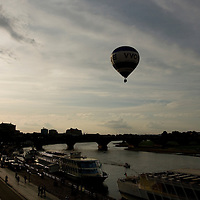 Balloon over Elba River at sunset, Dresden, Germany; 2009.