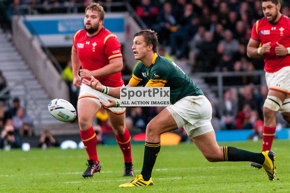 South Africa's Handre Pollard. Action from the South Africa v Wales quarter final game at the 2015 Rugby World Cup at Twickenham in London, 17 October 2015. (c) Paul J Roberts / Sportpix.org.uk