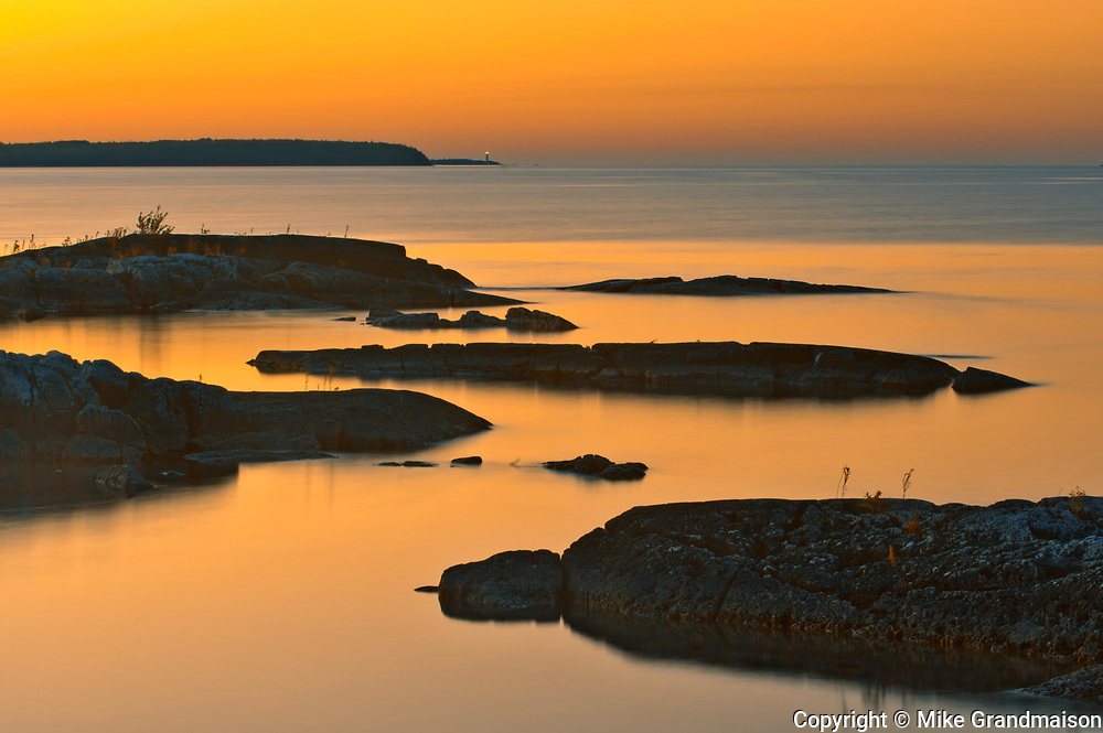 Islands in Georgian Bay (Lake Huron) at sunset. Burnt Point. Bruce Peninsula.<br />