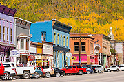 Historic downtown and fall color, Silverton, Colorado USA