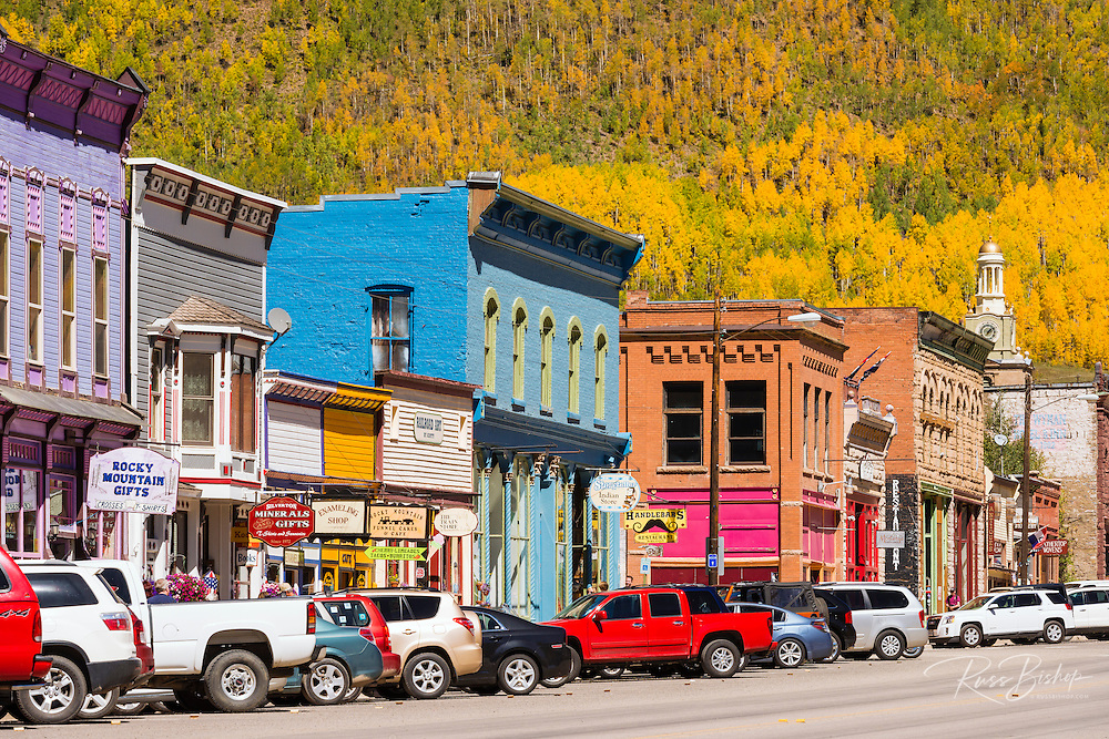 Historic downtown and fall color, Silverton, Colorado USA