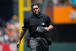 SAN FRANCISCO, CA - JUNE 25:  MLB umpire Manny Gonzalez #79 stands on the field during the fifth inning between the San Francisco Giants and the San Diego Padres at AT&T Park on June 25, 2015 in San Francisco, California.  The San Francisco Giants defeated the San Diego Padres 13-8. (Photo by Jason O. Watson/Getty Images) *** Local Caption *** Manny Gonzalez