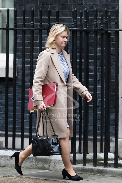 Downing Street, London, February 21st 2017. Education Secretary Justine Greening attends the weekly cabinet meeting at 10 Downing Street in London.