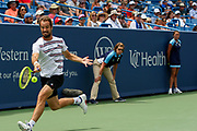 Richard Gasquet (FRA) hits a forehand to David Goffin (BEL) during the Western and Southern Open tennis tournament at Lindner Family Tennis Center, Saturday, Aug 17, 2019, in Mason, OH. (Jason Whitman/Image of Sport)