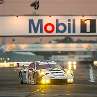 Sebring, FL - Mar 19, 2015:  The Porsche North America races through the turns at 12 Hours of Sebring at Sebring Raceway in Sebring, FL.