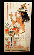 Egyptian wall paintings from The New Kingdom, facsimies of ancient Egyptian wall decoration.  They are accurate copies of original scenes, exact in line and colour and, with a few exceptions, at a scale of 1:1