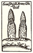 Samoyed man and woman. Woodcut from 'Neu-endecktes Sieweria' (Newly Discovered Siberia) by Georg Adam Schleissing (Zittau, 1693).