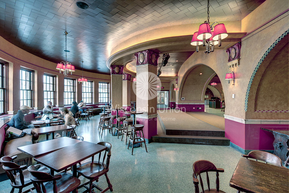 Der Rathskeller is located on the first floor of the East Wing of Memorial Union. Der Rath was renovated in 2016 as part of the Memorial Union Reinvestment project.