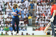 Lasith Malinga,  during the One Day International match between Sri Lanka and England at Pallekele International Cricket Stadium, Pallekele, Sri Lanka on 20 October 2018.